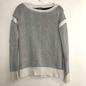 Vince White & Navy Knit Boatneck Sweater